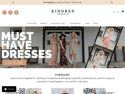 Screenshot of shopkindredpeople.com