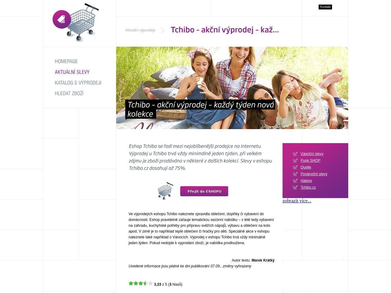 Tchibo – akční výprodej – každý týden nová kolekce (Zdroj: Wordpress.com)