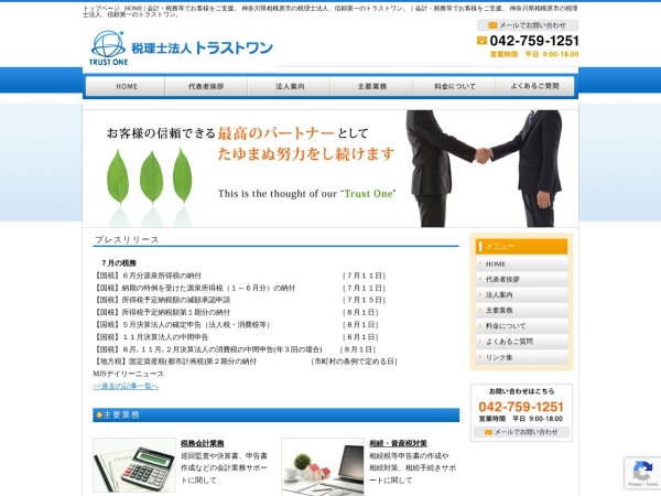 Screenshot of tax-trust-one.or.jp