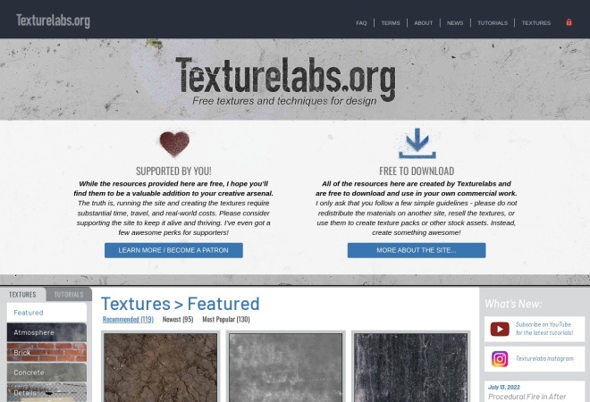 Screenshot of texturelabs.org