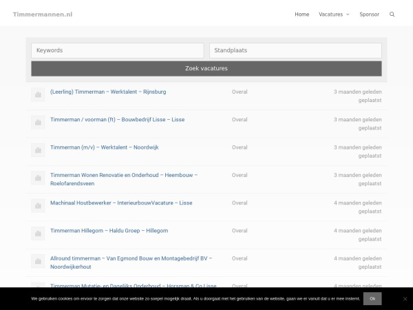 Screenshot of timmermannen.nl