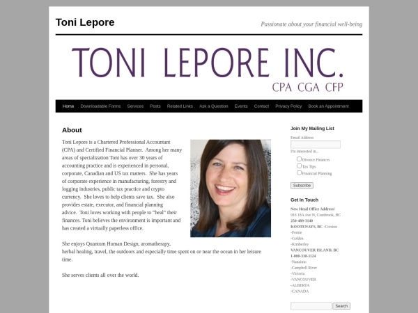 Screenshot of tonilepore.ca