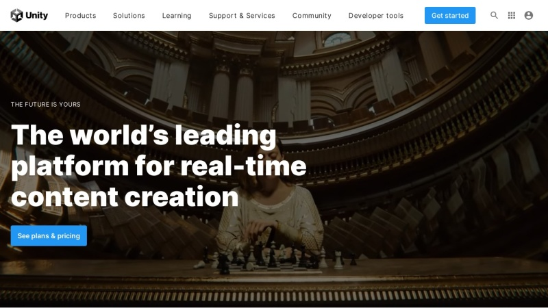 Screenshot of unity3d.com