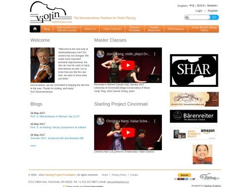 Screenshot of violinmasterclass.com