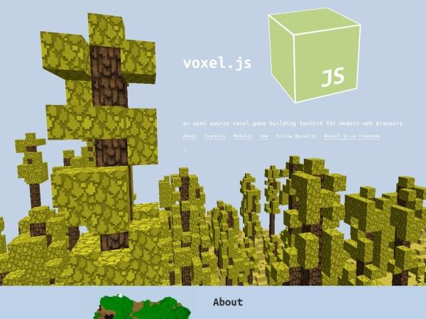 Screenshot of voxeljs.com