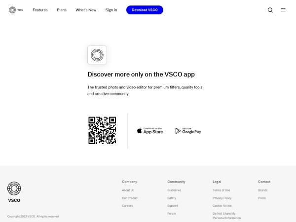 Screenshot of vsco.co