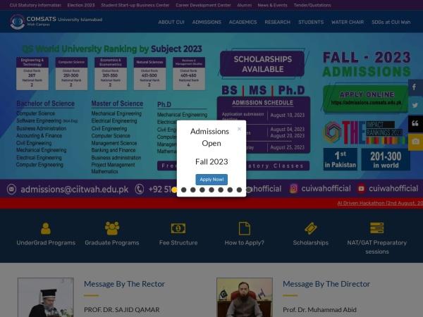 Screenshot of wah.comsats.edu.pk