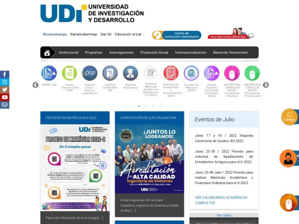 Screenshot of web.udi.edu.co