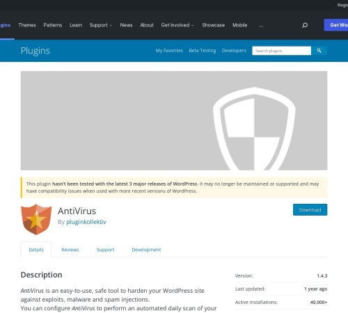 http://wordpress.org/extend/plugins/antivirus/
