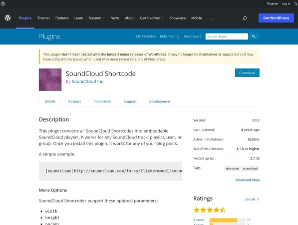 http://wordpress.org/extend/plugins/soundcloud-shortcode/