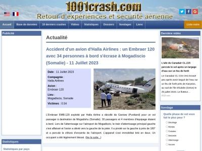 1001crash – Accidents aériens, sécurité aviation