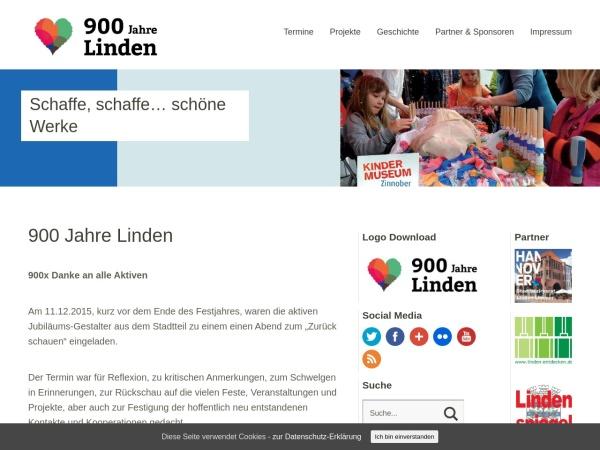 Screenshot von www.900JahreLinden.de