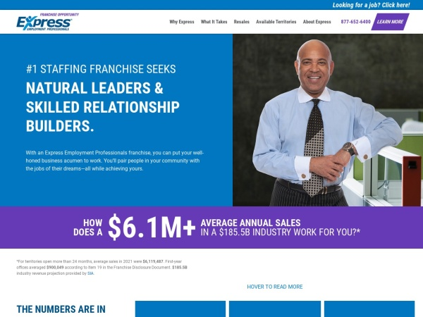 Screenshot of www.ExpressFranchising.ca