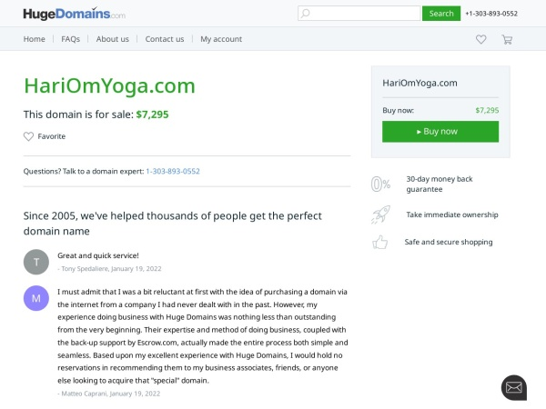 Screenshot of www.HariOmYoga.com