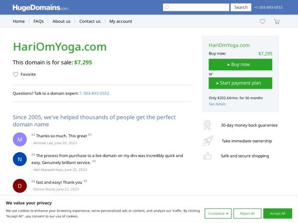 Screenshot of www.HariOmYoga.com