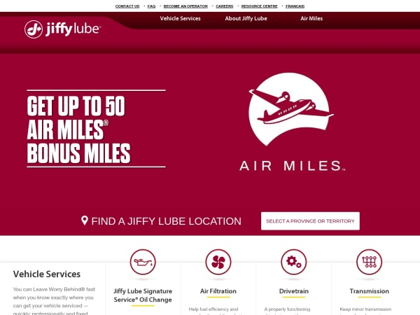 Screenshot of www.Jiffylube.ca
