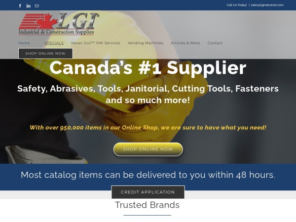 Screenshot of www.LGIndustrial.com