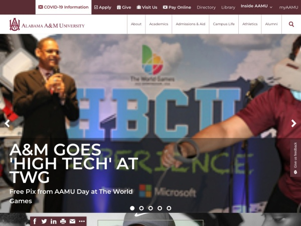 Screenshot of www.aamu.edu