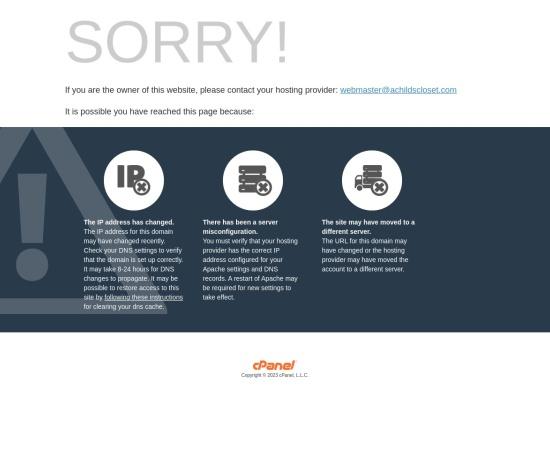 Screenshot of www.achildscloset.com