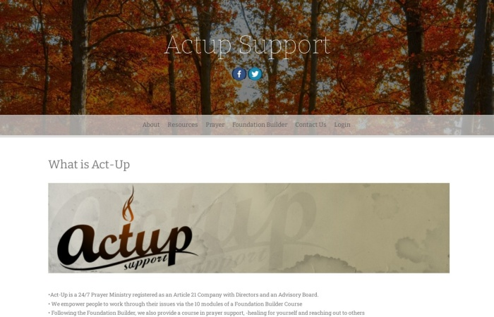 Screenshot of www.actup.co.za