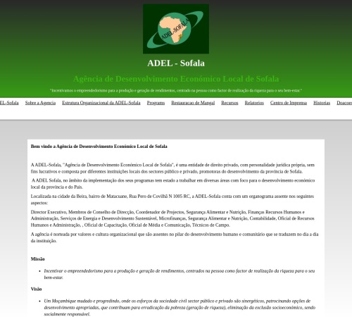 Screenshot of www.adelsofala.org.mz