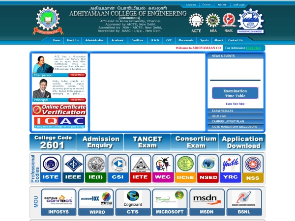 Screenshot of www.adhiyamaan.ac.in