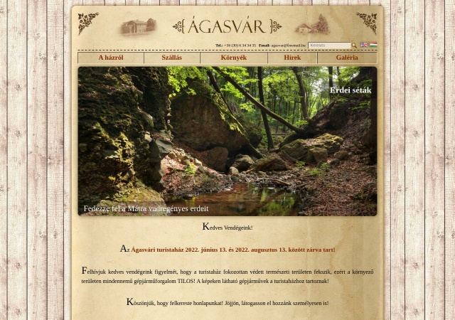 Screenshot of www.agasvar.hu