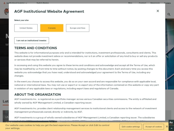 Screenshot of www.agf.com