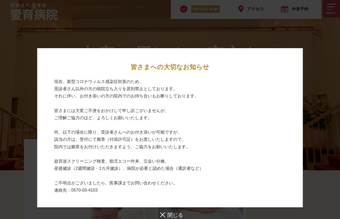 Screenshot of www.aiiku-hos.or.jp