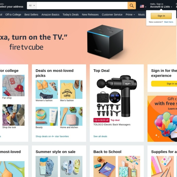 Screenshot of www.amazon.com