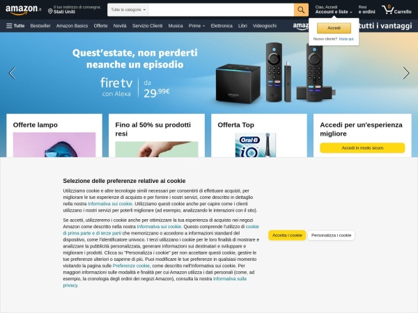 Screenshot of www.amazon.it