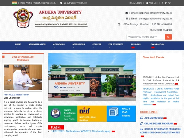 Screenshot of www.andhrauniversity.edu.in