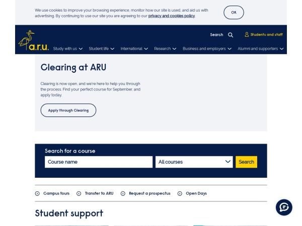 Screenshot of www.anglia.ac.uk