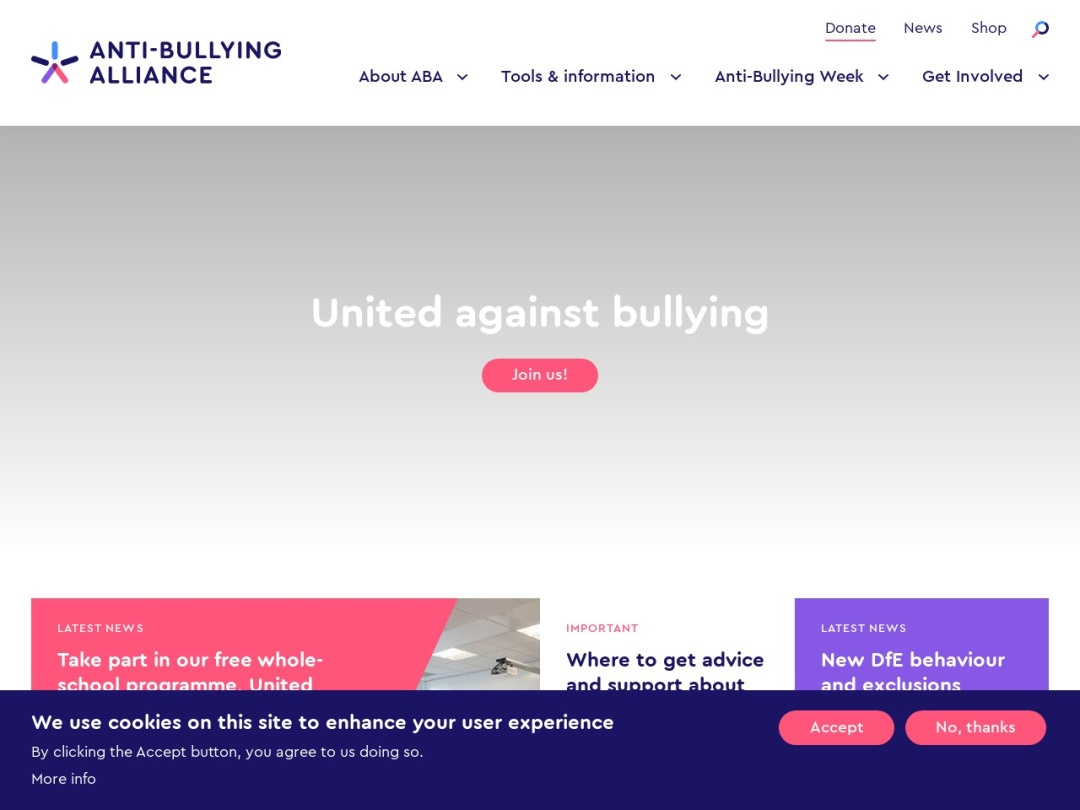 Screenshot of www.anti-bullyingalliance.org.uk