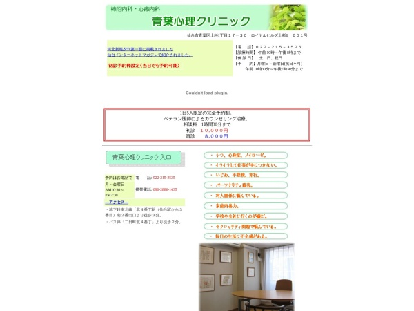 Screenshot of www.aobashinriclinic.jp