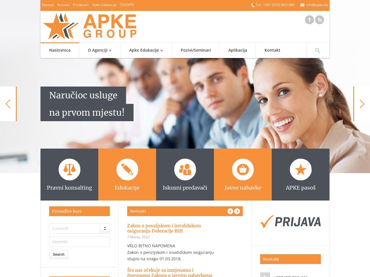 Screenshot of www.apke.ba