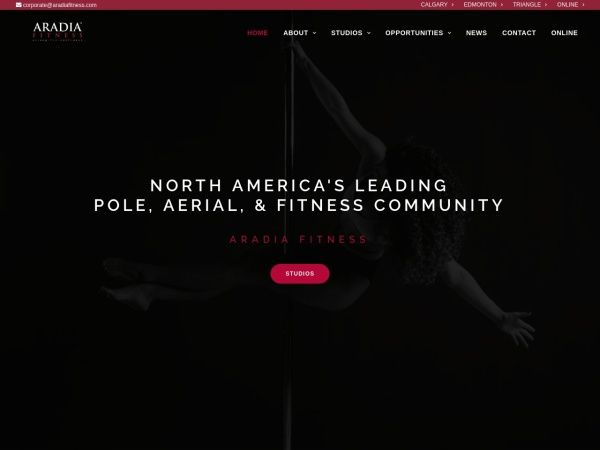 Screenshot of www.aradiafitness.com