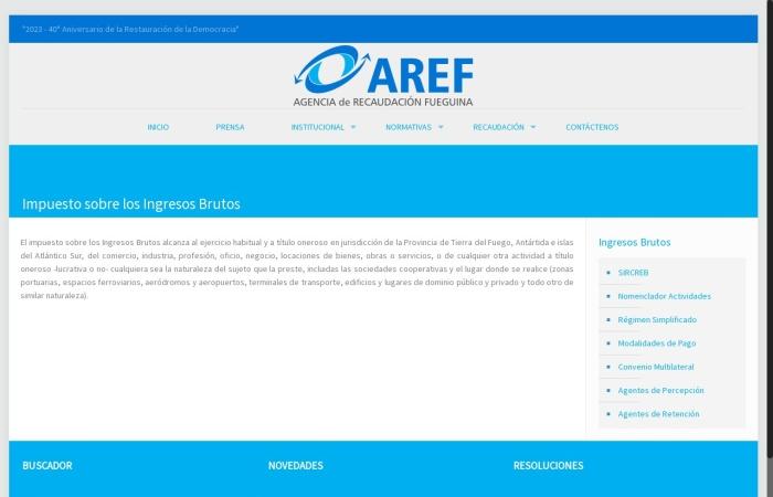Captura de pantalla de www.aref.gob.ar