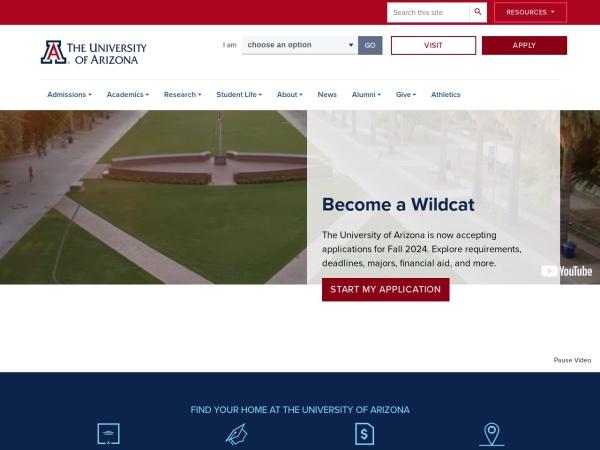 Screenshot of www.arizona.edu