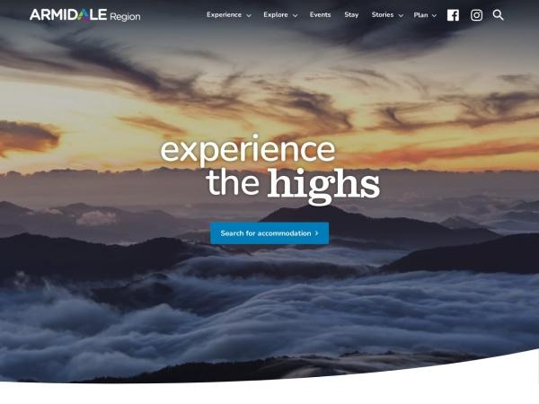 Screenshot of www.armidaletourism.com.au