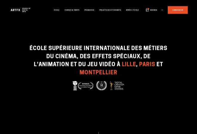 Screenshot of www.artfx.fr