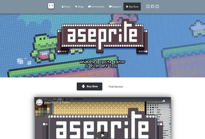 Screenshot of www.aseprite.org