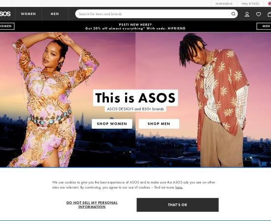 Screenshot of www.asos.com