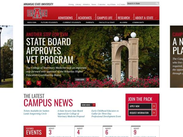 Screenshot of www.astate.edu