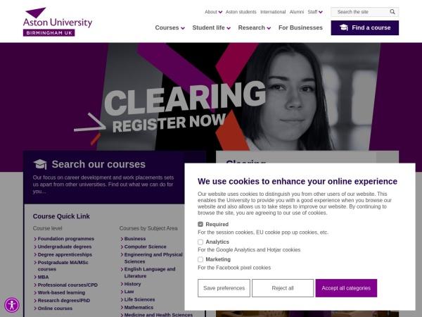 Screenshot of www.aston.ac.uk