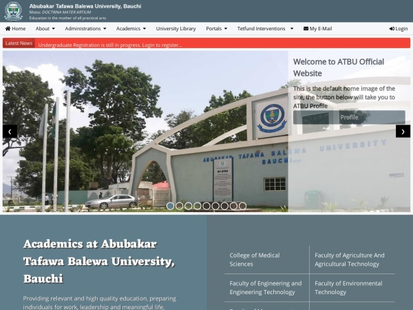 Screenshot of www.atbu.edu.ng