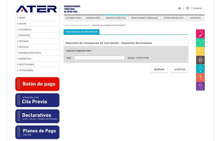 Captura de pantalla de www.ater.gov.ar