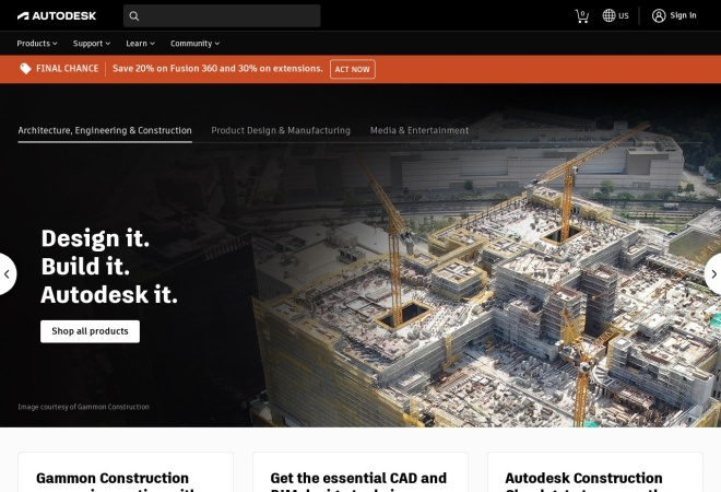 Screenshot of www.autodesk.com