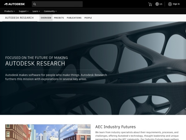 Screenshot of www.autodeskresearch.com