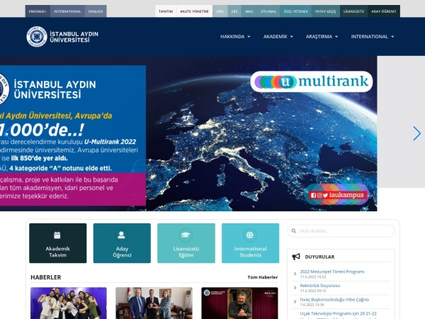 Screenshot of www.aydin.edu.tr